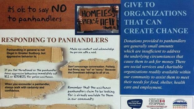 These posters which target panhandling will be taken down.  The top portion of the poster appears in this picture. A picture of the lower portion of the poster appears at the end of the story.