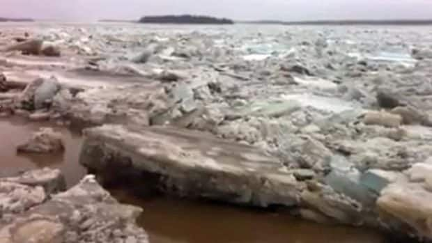 Ice jams up on the Moose River in Moosonee, Ont. The town anticipates there may be severe flooding and has requested assistance from Emergency Management Ontario.