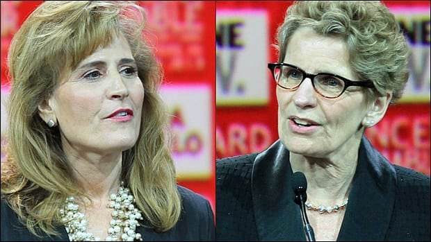 Kathleen Wynne, right, was unable to convince her leadership rival Sandra Pupatello to run in Windsor and join her cabinet.