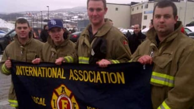 Firefighters at a protest last week against layoffs that are coming to the Corner Brook fire department.