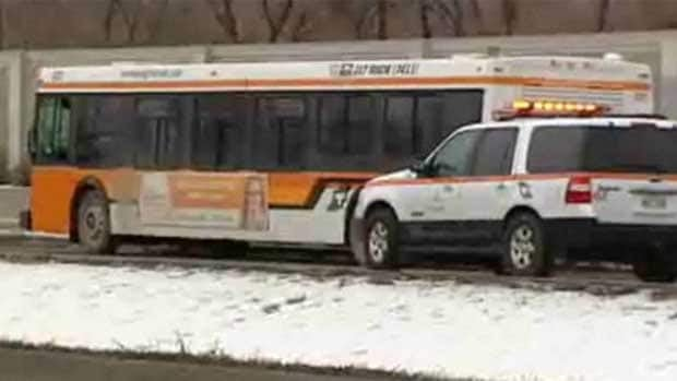 This Winnipeg Transit bus was under investigation on Dec. 20, after it struck an 84-year-old man at a bus stop on the Chief Peguis Trail. The driver has been charged with criminal negligence causing bodily harm.