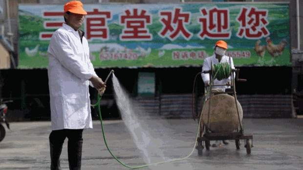 A worker disinfects a live poultry wholesale market in Shanghai, where there have been 21 reported cases of the H7N9 virus.