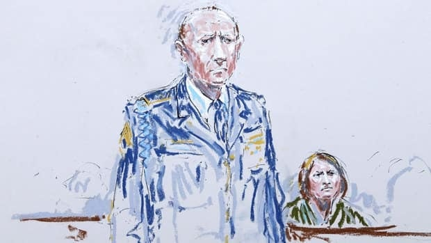 In this courtroom sketch, U.S. Army Staff Sgt. Robert Bales stands in a military courtroom in June as his wife, Kari Bales, looks on. Bales pleaded guilty to multiple counts of murder, stemming from a pre-dawn attack on two villages in Kandahar province in Afghanistan in March 2012.