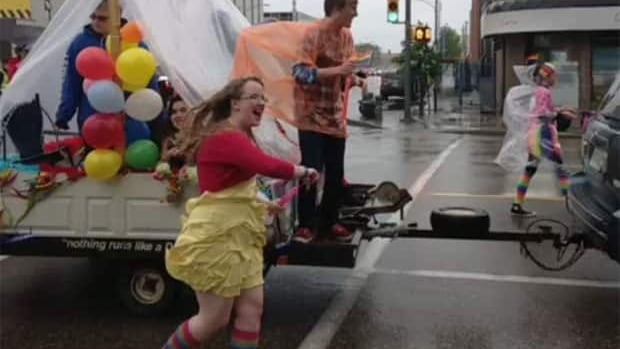 A large crowed marched through the rainy Saskatoon streets for the city's Pride Parade.