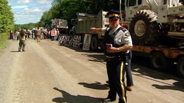 About 50 shale gas protesters blocked a dirt road near Stanley. The protest is continuing on Wednesday. CBC