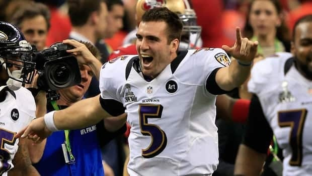 Joe Flacco of the Baltimore Ravens celebrates after defeating the San Francisco 49ers during Super Bowl XLVII at the Mercedes-Benz Superdome on February 3, 2013.
