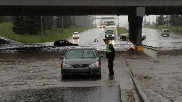 Heavy rain caused flooding at St. Albert Trail and the Yellowhead on Tuesday afternoon.