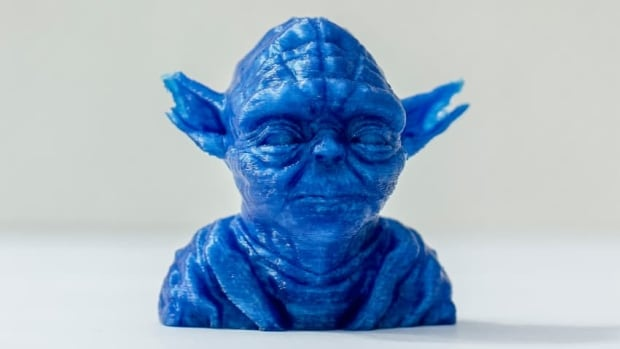 "The process of 3D printing, which is what created this likeness of the Star Wars character Yoda, has gained in popularity in recent years. There are several types of 3D printers, but all involve the same basic approach for ""printing"" an object: transferring a substance in multiple layers onto a building surface, beginning with the bottom layer."