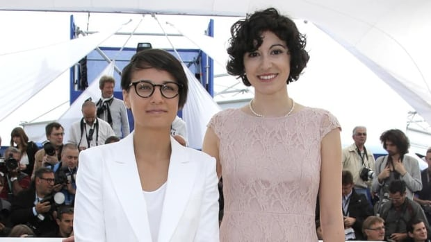 Director Chloe Robichaud, left, and producer Fanny-Laure Malo premiered the film Sarah Prefers to Run at the 66th international film festival, in Cannes, southern France.