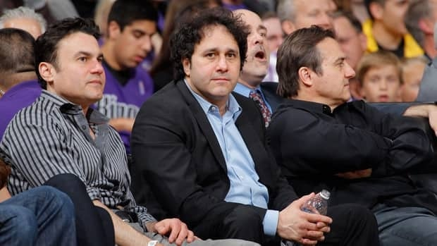 Sacramento Kings owners, Phil Maloof, left, George Maloof, centre, and Gavin Maloof watch on April 26, 2012.