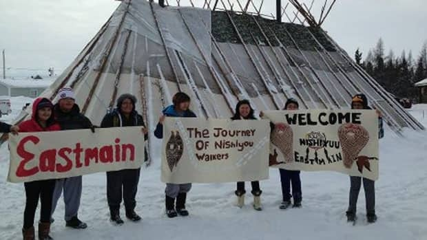 Cree youth walking from Whapmagoostui, Que., to Ottawa reached the community of Eastmain, on the James Bay coast of Northern Quebec, this week.