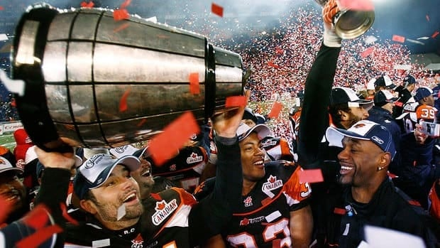 While the Grey Cup has survived the two foreign attacks, it didn't fare so well in 2006 after the Lions defeated Montreal. During the post-game jubilation, the trophy broke in two, shown here, when offensive lineman Kelly Bates lifted it above his head.