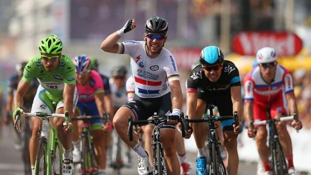 Great Britain's Mark Cavendish celebrates his win at the end of stage five of the 2013 Tour de France.