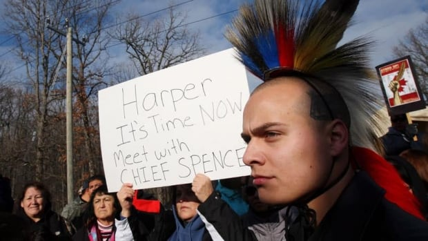 People from Aamjiwnaang First Nation and their supporters gather for a meeting with officials at a blockade of the CN St. Clair spur line in Sarnia, Ont., on Sunday.
