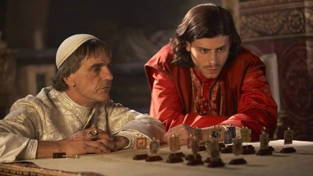 Jeremy Irons portrays Rodrigo Borgia, Pope Alexander VI, left, and Francois Arnaud portrays his son Cesare Borgia, in The Borgias. The winner of last year's best drama Gemini will be in a separate category in 2012.