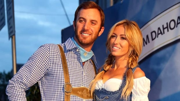 Dustin Johnson and Paulina Gretzky are seen here attending the BMW International Open 25th Anniversary Party in June in Munich, Germany. The pair announced their engagement on Twitter on Sunday.