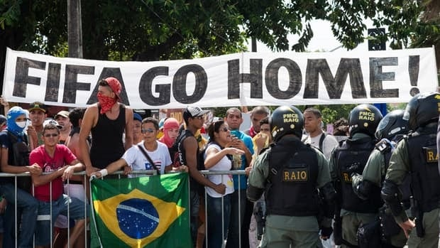 The protests that have broken out in Brazil in the last month are partly over the money the government has spent on preparing for the 2014 World Cup, which was granted to them by FIFA, the international soccer body.