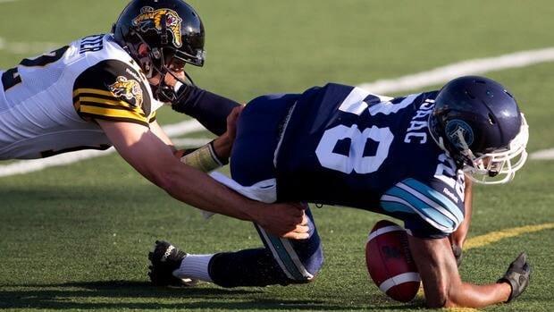 Argonauts linebacker Brandon Isaac, right, was fined for his controversial hit on Winnipeg Blue Bombers' quarterback Buck Pierce last weekend.