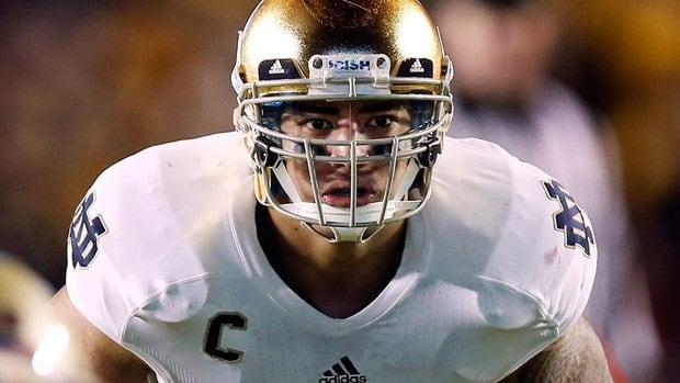 """Notre Dame linebacker Manti Te'o was duped into an online relationship with a woman whose """"death"""" was then faked by the perpetrators of the hoax."""