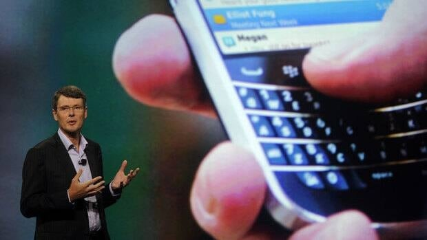 Research in Motion's chief executive officer, Thorsten Heins,  says its new line of BlackBerrys will include both touchscreen and physical keyboards.