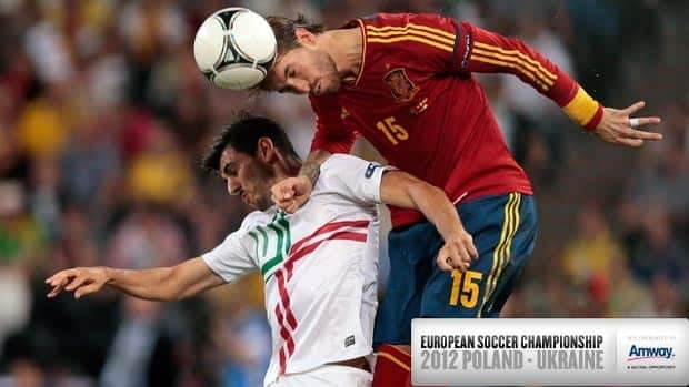 Spain's Sergio Ramos, right, and Nelson Oliveira of Portugal jump for the ball during the Euro 2012 soccer championship semifinal match in Donetsk, Ukraine on Wednesday.