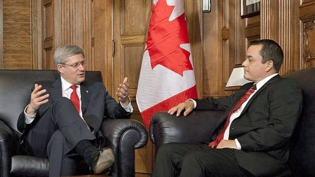 Prime Minister Stephen Harper speaks with Assembly of First Nations Chief Shawn Atleo on Parliament Hill on Dec. 1, the day the two announced the date of the Crown-First Nations Gathering that will take place in Ottawa next week.