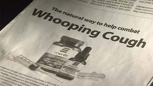 The advertisement placed by the oil maker is 'misleading' and could harm efforts to contain a whooping cough outbreak, the Fraser Health Authority says.