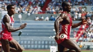 Disgraced sprinter Ben Johnson of Canada, right, who was stripped of his Olympic gold medal and world record in the 100 metres at the 1988 Seoul Games after testing positive for steroids, is promoting an anti-doping campaign, Pure Sport.