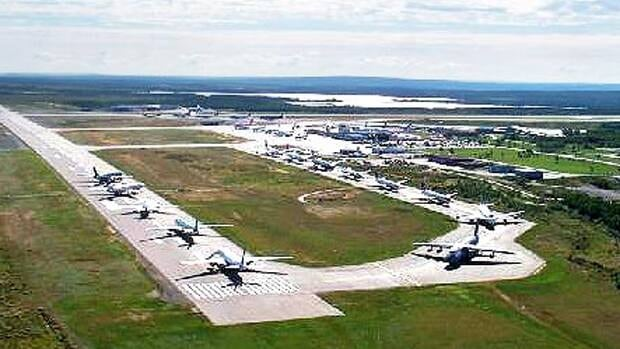 Airplanes lined up on the runway in Gander, N.L., on September 11, 2001.