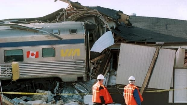 The April 2001 derailment of a Via Rail passenger train near Stewiacke, N.S. was one of Canada's strangest train accidents. A 13-year-old boy who tampered with a rail switch was found to be responsible for the crash, which saw nine of the train's 14 cars go off the track and head for the small town. One of the cars, pictured, smashed into a farm supply store, destroying the building.