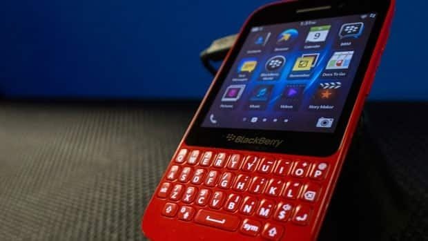 A BlackBerry Q5 on display at the company's Annual and Special Meeting, in Waterloo. The phone is set for release in Canada on August 13.