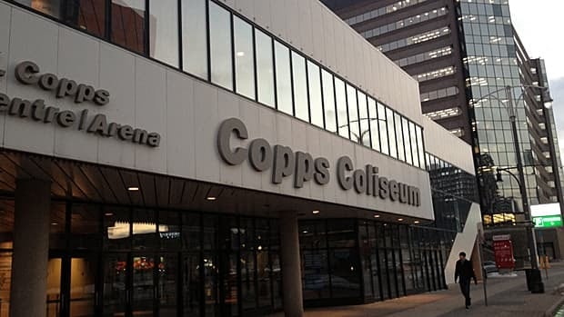Copps Coliseum will soon be known as FirstOntario Centre, with a nod to Victor Copps in smaller letters on the sign. (Samantha Craggs/CBC)