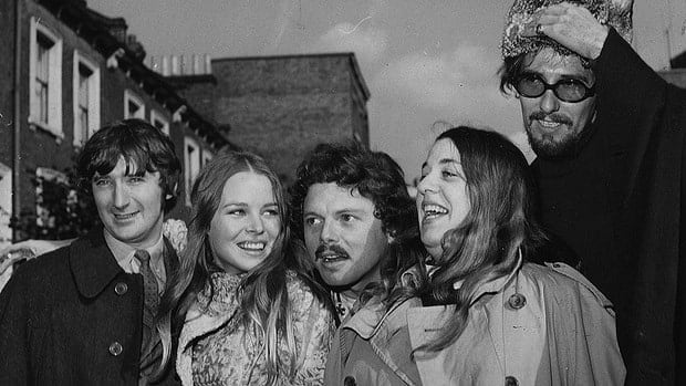 Scott McKenzie, centre, is seen in London in 1967 with his friends The Mamas And The Papas, from left Denny Doherty, Michelle Phillips, Cass Elliott and John Phillips.