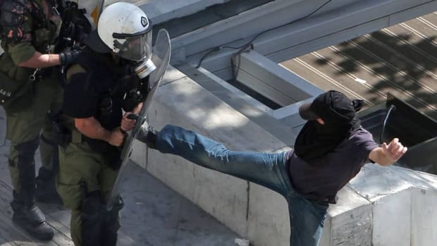 Protesters in Athens clashed with riot police during the second 24-hour general strike in Greece during the last few weeks.