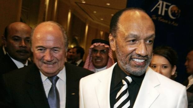 Former AFC president Mohamed bin Hammam, right, and FIFA president Sepp Blatter in less contentious times on May 7, 2009.