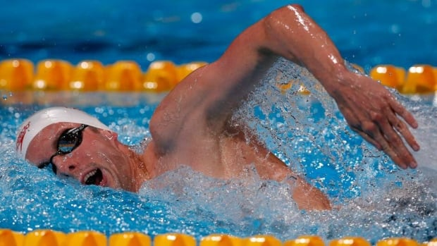 Canada's Ryan Cochrane swims in a Men's 800m freestyle heat at the FINA Swimming World Championships in Barcelona, Spain on Tuesday.