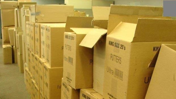 Cases of cigarettes seized in a Feb. 2 raid outside Winnipeg.