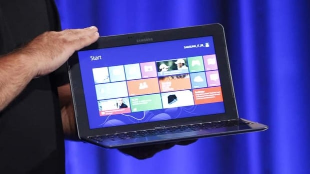 Samsung is betting on tablets like this one, which features Intel Corp's latest Atom processor and Windows 8 software. The new touch-friendly Windows will be released in New York Thursday. Samsung forecasts 10 per cent growth in sales of tablet-laptop hybrids.