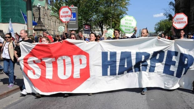 Occupy protesters rally on Parliament Hill in Ottawa on Monday.