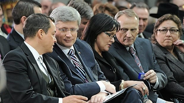 Thursday's federal budget could be a make-or-break moment towards a long-term fix for the First Nations education system. National Chief Shawn Atleo and Prime Minister Stephen Harper are seen here during the Crown-First Nations Gathering in Otawa on Jan. 24.