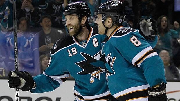 San Jose Sharks' Joe Pavelski, right, netted the shootout winner against the Los Angeles Kings on Thursday. Teammate Joe Thornton, left, also recorded a goal and assist in a phenomenal game between the California rivals.