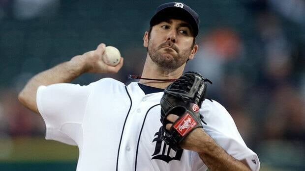 Detroit Tigers starting pitcher Justin Verlander throws during the first inning Wednesday against the Oakland Athletics.