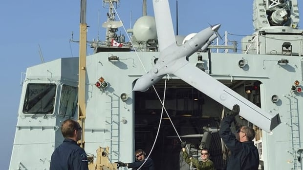 The Insitu ScanEagle model of UAV approved for commercial use in the U.S. is based on a design similar to the one in this photo taken on the HMCS Regina during Operation ARTEMIS in the Arabian Sea in November 2012.