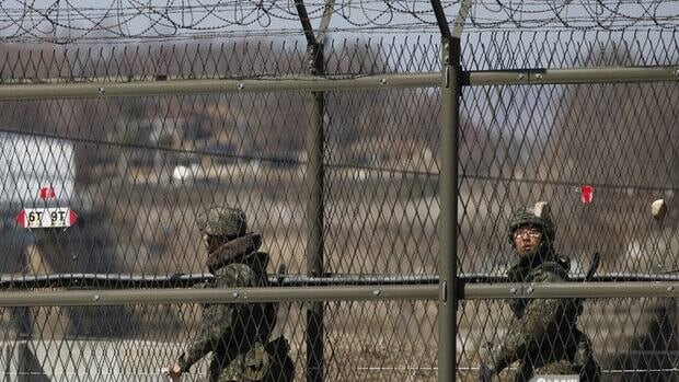 South Korean soldiers patrol near the demilitarized zone, a byproduct of the Korean War which separates the two Koreas.