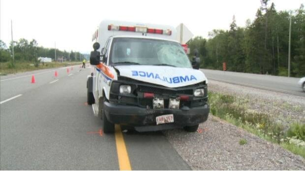 A male ATV driver flew from his vehicle as he was trying to cross the Trans-Canada Highway near Pynn's Brook on Friday. The man hit the front windshield of an ambulance that was heading east when the collision occurred.