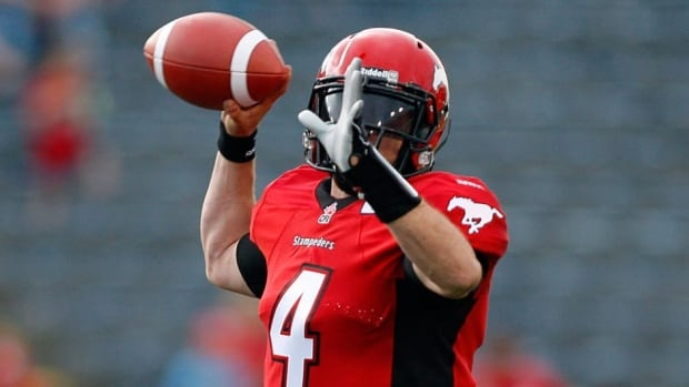 Calgary Stampeders quarterback Drew Tate during a game against the B.C. Lions in Calgary, Alta., Friday, June 28, 2013.