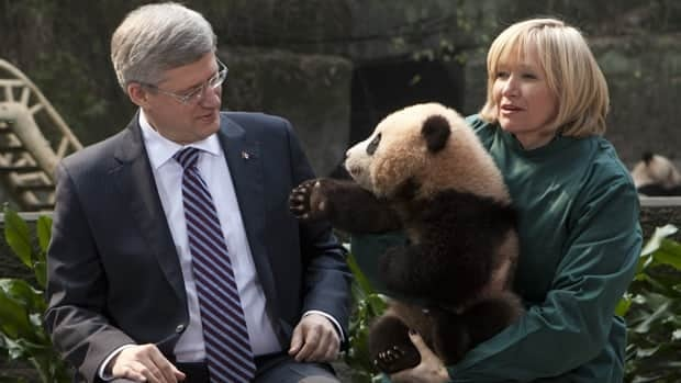 Prime Minister Stephen Harper and his wife, Laureen, hold a panda at the Chongqing Zoo in Chongqing, China on Saturday. Two giant pandas will call Canada home for the next 10 years.