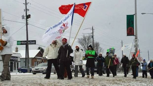 Teachers with the Keewating-Patricia public school board held a day-long strike on Tuesday.