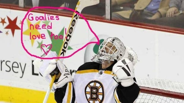 This Valentine's Day, it appears as though Boston Bruins' goaltender Tim Thomas is looking for love just like everyone else.
