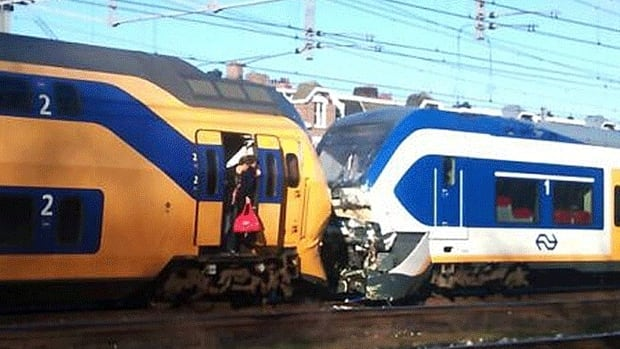 An image from the AT5 news network in Amsterdam shows the trains that collided, resulting in broken bones and neck injuries in more than 50 people.